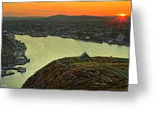 Sunset On St. John's Harbour Greeting Card