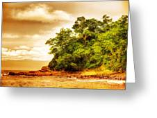 Sunset On The Beach Of Costa Rica Greeting Card