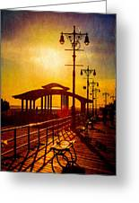 Sunset On The Boardwalk Greeting Card