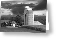 Sunset On The Farm Bw Greeting Card