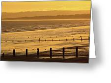 Sunset Over Beach In Winter Youghal Greeting Card