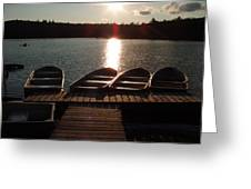 Sunset Over Bear Pond Sabattis Adventure Camp Greeting Card