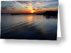 Sunset Over Gulfport Casino In Gulfport Florida Greeting Card