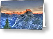 Sunset Over Half Dome Greeting Card