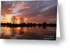 Sunset Over Lake At Finley Greeting Card