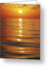 Sunset Over Ocean Horizon Greeting Card