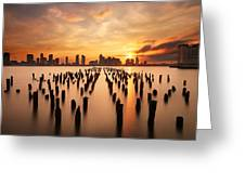 Sunset Over The Hudson River Greeting Card by Larry Marshall