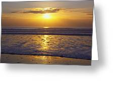 Sunset Over The Pacific Ocean Along The Greeting Card by Craig Tuttle