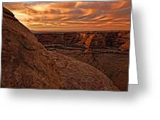 Sunset Over The Rim Of Canyon De Greeting Card