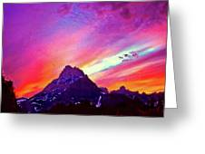 Sunset Over The Sierras Greeting Card