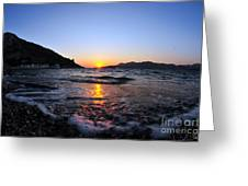 Sunset Over The Waves Greeting Card