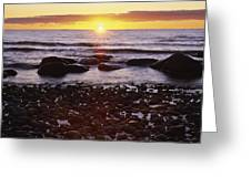 Sunset Over Water, Newfoundland, Canada Greeting Card