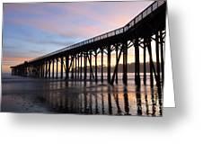 Sunset Pier San Simeon California 2 Greeting Card