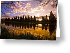 Sunset Reflection In A Park Pond Greeting Card by Craig Tuttle