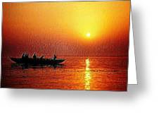 Sunset Rowing Greeting Card