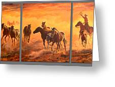 Sunset Run Triptych Greeting Card by Jana Goode
