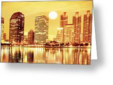 Sunset Scenes Of City Greeting Card