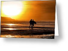 Sunset Surfers Greeting Card by Richard Thomas
