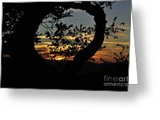 Sunset Through A Heart Of Branches Greeting Card