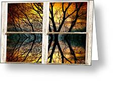 Sunset Tree Silhouette Abstract Picture Window View Greeting Card