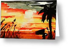 Sunset Under The Palm Tree Greeting Card