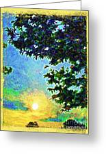 Sunset With Leaves Greeting Card