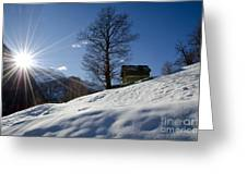 Sunshine Over The Snow Greeting Card