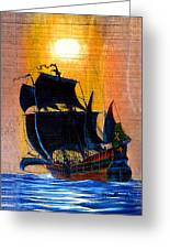 Sunship Galleon On Wood Greeting Card