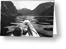 Supplies On The End Of A Kayak Going Greeting Card