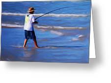 Surf Casting Greeting Card by David Lane