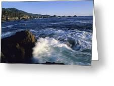 Surf Pounds And Swirls Around Bird Rock Greeting Card by Rich Reid