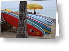 Surfboards On Waikiki Beach Greeting Card