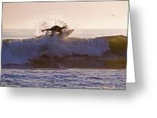 Surfer At Dusk Riding A Wave At Rincon Greeting Card