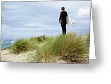Surfer At The Beach Checking Out The Ocean Waves Greeting Card