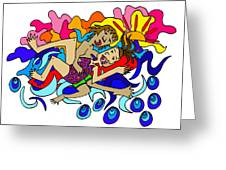Surfers In Love Greeting Card