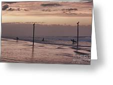 Surfers Pelicans And Pink Sky Greeting Card