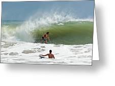 Surfing In The Wake Of Hurricane Irene Greeting Card