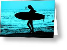 Surfs Up Blue Greeting Card