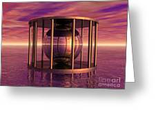 Metal Cage Floating In Water Greeting Card
