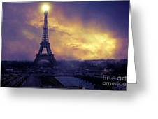 Surreal Fantasy Paris Eiffel Tower Sunset Sky Scene Greeting Card by Kathy Fornal