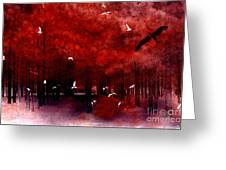 Surreal Fantasy Red Woodlands With Birds Seagull Greeting Card