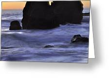 Surreal Surf Cascading On The Rocks Greeting Card