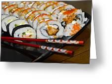 Sushi And Chopsticks Greeting Card