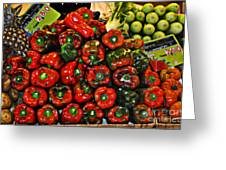 Sweet Red Peppers Greeting Card