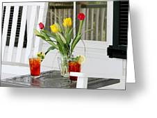 Sweet Tea And Tulips Greeting Card