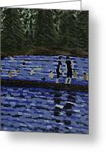 Swimming At The Res Greeting Card