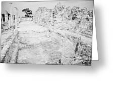 Swimming Pools In The Gymnasium And Baths In The Ancient Site Of Old Roman Villa Salamis Greeting Card
