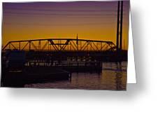 Swing Bridge Sunset Greeting Card