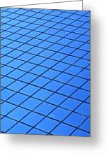 Symmetrical Pattern Of Blue Squares Greeting Card