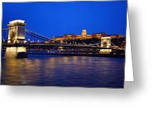 Szechenyi Bridge In Budapest Greeting Card